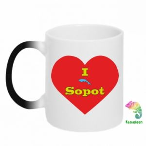 "Chameleon mugs ""I love Sopot"" with symbol"