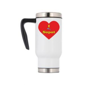 "Travel mug ""I love Sopot"" with symbol"