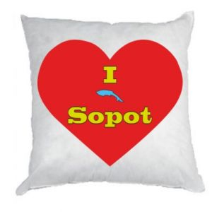 "Pillow ""I love Sopot"" with symbol"