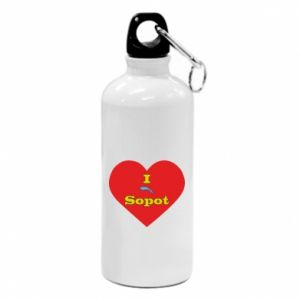 """Water bottle """"I love Sopot"""" with symbol"""