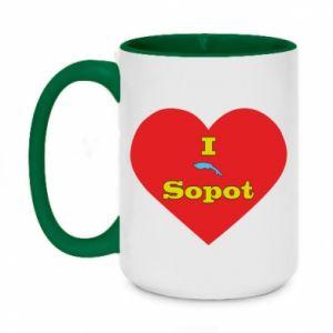 "Two-toned mug 450ml ""I love Sopot"" with symbol"