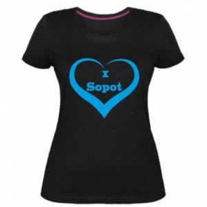 Damska premium koszulka I love Sopot - PrintSalon