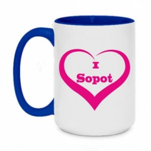 Two-toned mug 450ml I love Sopot