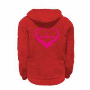 Kid's zipped hoodie % print% I love Szczecin