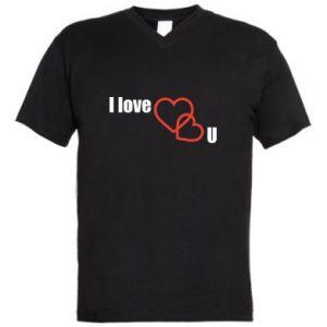 Męska koszulka V-neck I love U