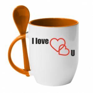 Kubek z ceramiczną łyżeczką I love U - PrintSalon