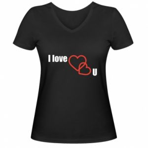 Damska koszulka V-neck I love U - PrintSalon