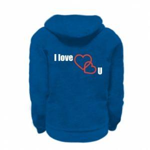 Kid's zipped hoodie % print% I love U