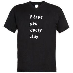 Męska koszulka V-neck I love you every day