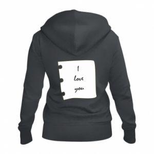 Damska bluza na zamek I love you - PrintSalon