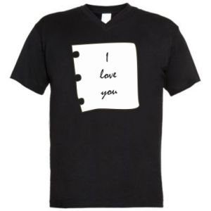 Męska koszulka V-neck I love you