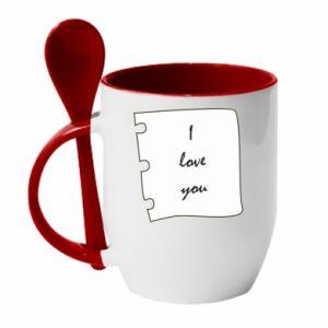 Kubek z ceramiczną łyżeczką I love you - PrintSalon