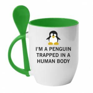 Kubek z ceramiczną łyżeczką I'm a penguin