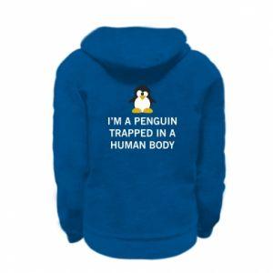 Kid's zipped hoodie % print% I'm a penguin