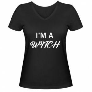 Damska koszulka V-neck I'm a witch
