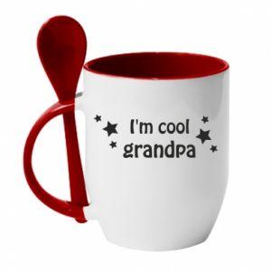 Kubek z ceramiczną łyżeczką I'm cool grandpa