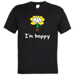Męska koszulka V-neck I'm happy