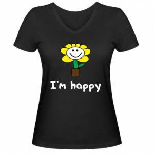 Damska koszulka V-neck I'm happy