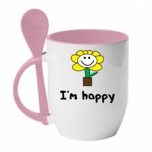 Kubek z ceramiczną łyżeczką I'm happy
