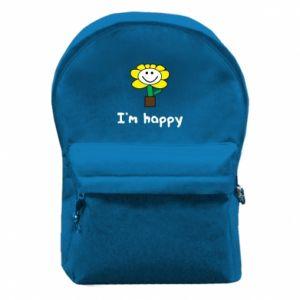 Plecak z przednią kieszenią I'm happy