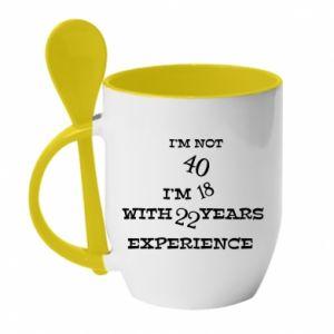 Kubek z ceramiczną łyżeczką I'm not 40