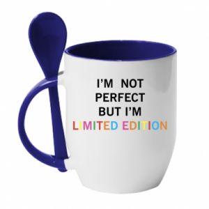 Kubek z ceramiczną łyżeczką I'm  not perfect but I'm limited edition