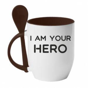 Kubek z ceramiczną łyżeczką I'm your hero