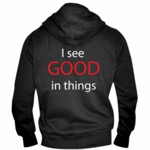 Męska bluza z kapturem na zamek I see good in things