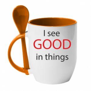 Kubek z ceramiczną łyżeczką I see good in things