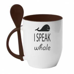 Kubek z ceramiczną łyżeczką I speak whale