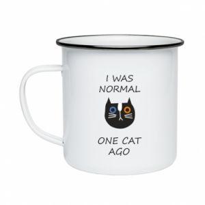 Kubek emaliowane I was normal one cat ago
