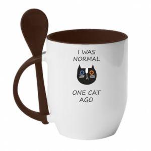 Kubek z ceramiczną łyżeczką I was normal one cat ago