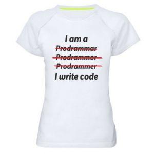 Women's sports t-shirt I write code