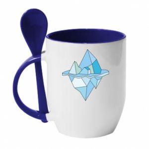 Kubek z ceramiczną łyżeczką Ice floe