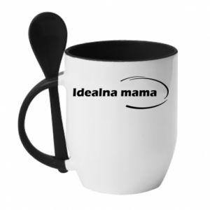 Kubek z ceramiczną łyżeczką Idealna mama