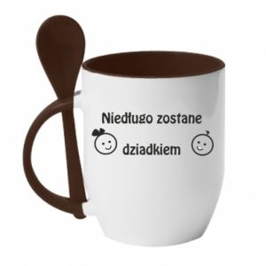 Mug with ceramic spoon I will be grandpa soon