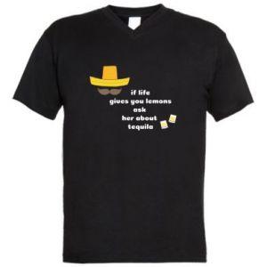 Męska koszulka V-neck If life gives you lemons ask her about tequila