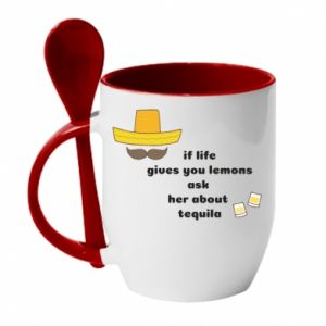 Kubek z ceramiczną łyżeczką If life gives you lemons ask her about tequila