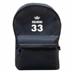 Plecak z przednią kieszenią Imię, cyfra i korona - PrintSalon
