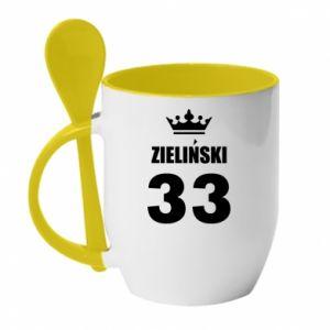 Mug with ceramic spoon name, figure and crown - PrintSalon