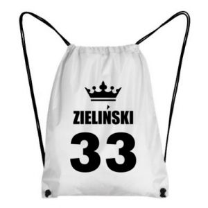 Backpack-bag name, figure and crown