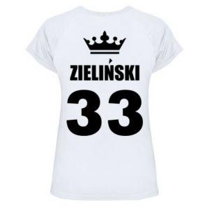 Damska koszulka sportowa Imię, cyfra i korona - PrintSalon