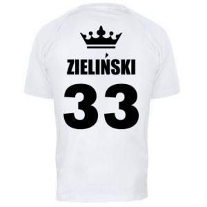 Męska koszulka sportowa Imię, cyfra i korona - PrintSalon