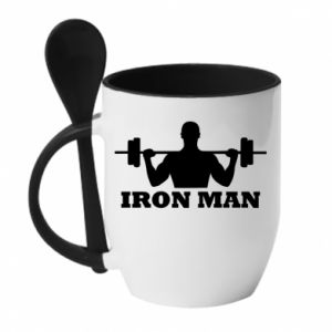Mug with ceramic spoon Iron man - PrintSalon