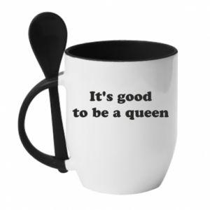 Kubek z ceramiczną łyżeczką It's good to be a queen