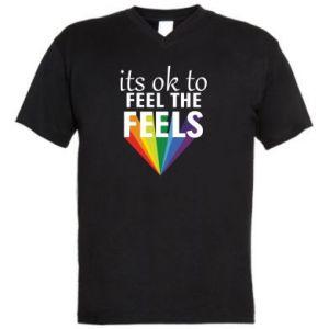 Męska koszulka V-neck It's ok to feel the feels