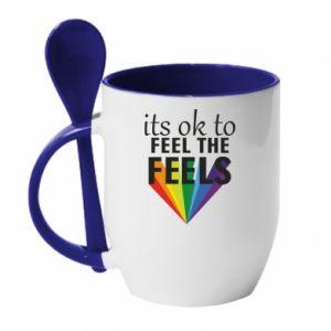 Kubek z ceramiczną łyżeczką It's ok to feel the feels
