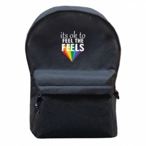 Backpack with front pocket It's ok to feel the feels