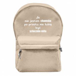 Plecak z przednią kieszenią Ja nie jestem chamska