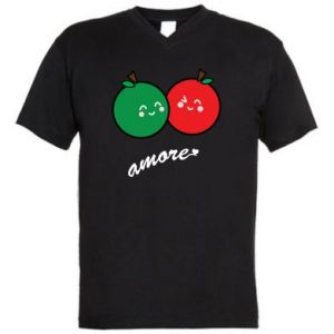 Men's V-neck t-shirt Apples in love - PrintSalon